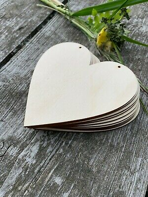 10 x HEARTS 12cm  VARIATIONS of BLANK WOODEN LARGE SHAPES XMAS WEDDING TAGS