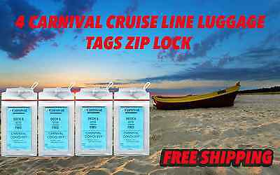 for Carnival Cruise Lines Set of 4 Zip Lock Luggage Tag Holders  Zippered