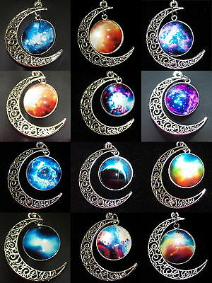 New Filigree Crescent Moon and Glass Cabochon Celestial Wicca Pendant Necklace