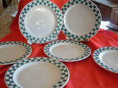 "6 x Hartstone 11"" Green Check Dinner Plates"