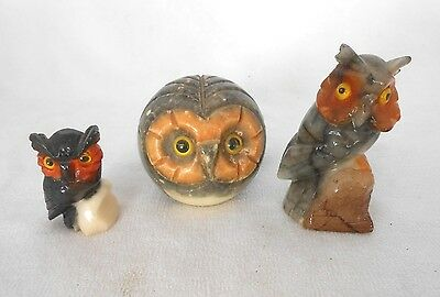 LOT OF 3 VINTAGE STONE OWL COLLECTIBLES PAPERWEIGHTS ITALIAN ALABASTER OWLS