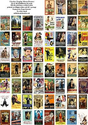 Charlie Chaplin  Movie Posters  -60 All Different A6 Artcards