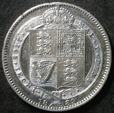 1889 Silver Shilling Great Britain UK Coin XF