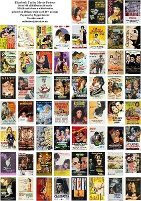 Elizabeth Taylor Movie Posters -60 All Different A6 Art Cards