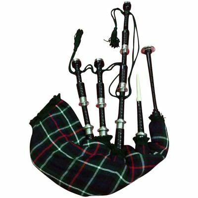 Hm Scottish Great Highland Bagpipes Rosewood Black Silver Mackenzie Tartan Cover