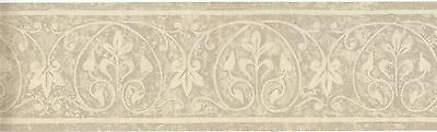 PG027203B Architectural Light Grey Beige Leaf Wallpaper Border