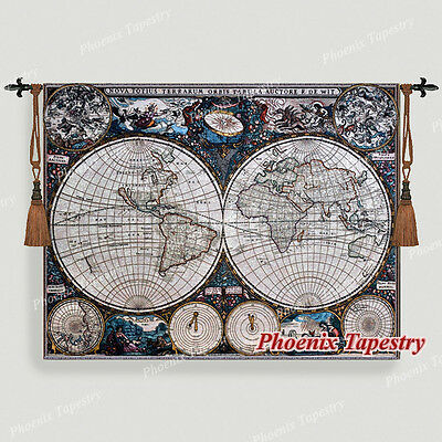 "Old World Map Medieval Fine Art Tapestry Wall Hanging, Cotton 100%, 55""x43"", UK"