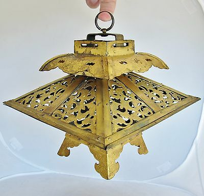 "Antique Chinese or Tibetan Gold Gilt Bronze Pagoda Lantern  (11.75"" x 8.5"" x 8"")"