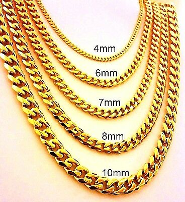"18""-30"" Mens Stainless Steel 4mm-10mm 24K Gold Plated Cuban Link Chain Necklace"