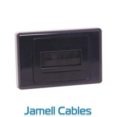 Brush Wall Plate In-Wall Cable Management Black