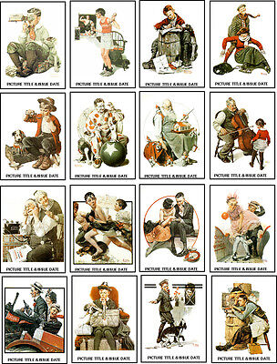 NORMAN ROCKWELL MAGAZINE COVERS 1920s -60 ALL DIFFERENT A6 ARTCARDS