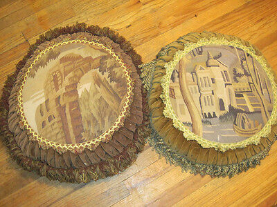2 Vintage Petit Point Pillows, Round with Down Filled Pillows