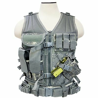 NcSTAR PVC Military Tactical Heavy Duty Vest w/ Pistol Holster Army Digital ACU