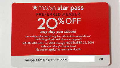 Macy's Coupon -- Online Code Only - 20% off - Expires 11/22/14