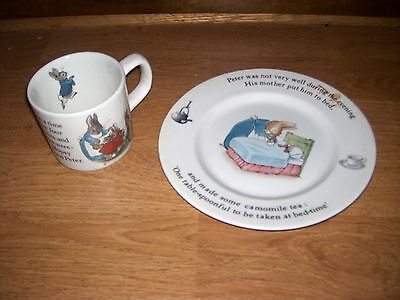 Wedgwood Peter Rabbit Beatrix Potter Cup & Plate set Child Baby Never Used