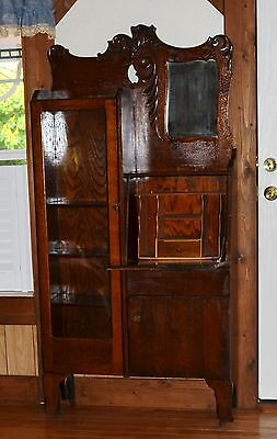 SOLID OAK CARVED SIDE-BY-SIDE DESK & BOOKCASE/ORIGINAL GLASS/VG-EXCELL CONDITION