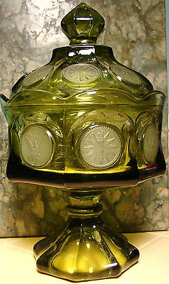 FOSTERIA GLASS COMPANY - Green Coin Glass Footed Bowl & Lid - NICE ITEM!