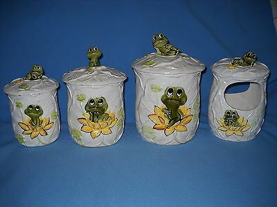 Vintage Neil The Frog Ceramic Canister Set and Candle Holder Sears 1970's