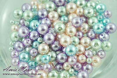 4mm/6mm/8mm Mixed-color Acrylic DIYJewelry Finding SpacerLoose Round Pearl Beads