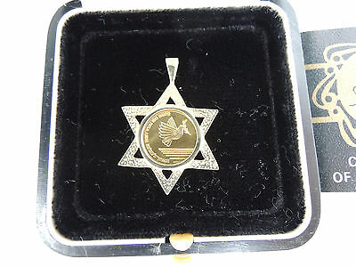 """ISRAEL 1985 """"MAY YOU GO SAFE..AND COME SAFE"""" MEDAL w/PENDANT 3.8g GOLD +BOX +COA"""