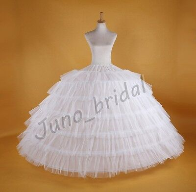 WHITE Super Big 7-HOOP WEDDING BRIDAL PROM PETTICOAT UNDERSKIRT CRINOLINE