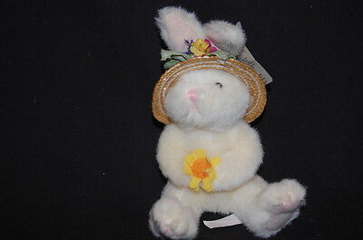 "Russ BONNETS Easter  Bunny RABBIT NWT 6"" PLUSH FLOWERS STUFFED ANIMAL LOVEY TOY"