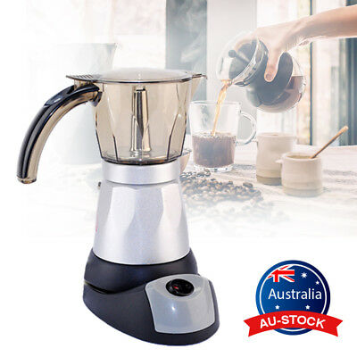 300ml Electric Coffee Maker Italian Percolator Mocha Moka Pot Latte Maker 6 Cup