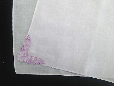 Ladies Cotton Handkerchief, Lilac Violet with Embroidered Corner, Vintage Style