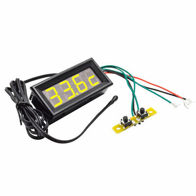 Yellow LED 3 in 1 Digital Probe thermometer Panel Meter Clock Voltmeter  DC