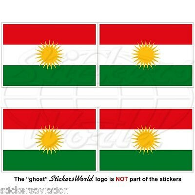 KURDISTAN Flag, Kurd Alaya Rengîn Kurdish 50mm Bumper-Helmet Stickers, Decals x4