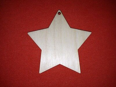 10 STARS 8cm VARIATIONS of UNPAINTED BLANK WOODEN CHRISTMAS HANGING SHAPE TAG