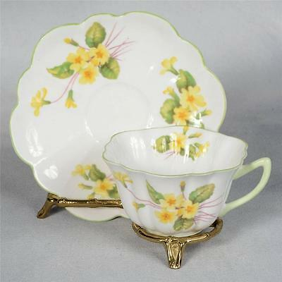 SHELLEY TEACUP & SAUCER - STRATFORD SHAPE, WHITE DECORATED WITH YELLOW PRIMROSE