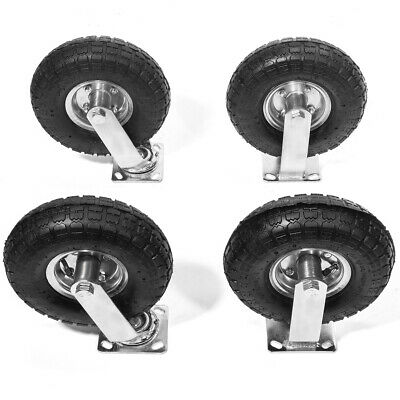 "4Pcs 10"" Pneumatic Air Tire Wheel 2 Rigid + 2 Swivel HD Farm Cart Caster Large"