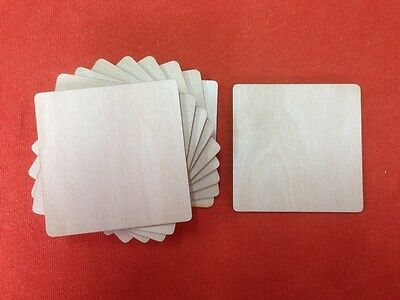 10 x COASTER 8 x 8cm BLANK UNPAINTED WOODEN SHAPE EMBELLISHMENTS GIFT PLAQUE