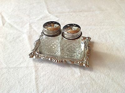 Diamond cut Miniature Glass Salt and Pepper Shakers with Silver Plate with Tray