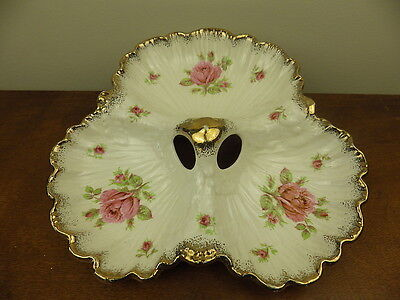Crown Ducal Pink Rose Three Sectioned Serving Dish