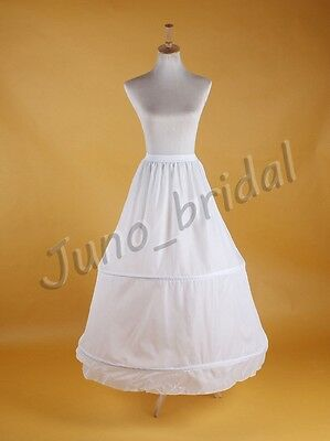 Bridal Wedding Basic 2-Hoop Without Netting Crinoline Petticoat Underskirt Slip