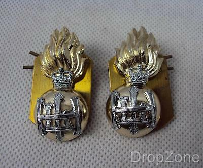 NEW Pair of British Military Royal Highland Fusiliers Collar Badges / Dogs