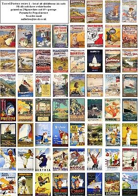 Vintage Travel Posters -60 All Different A6 Art Cards