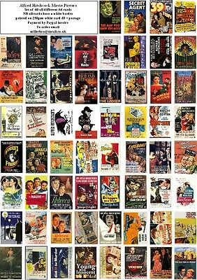 Alfred Hitchcock  Movie Posters- 60 All Different A6 Art Cards