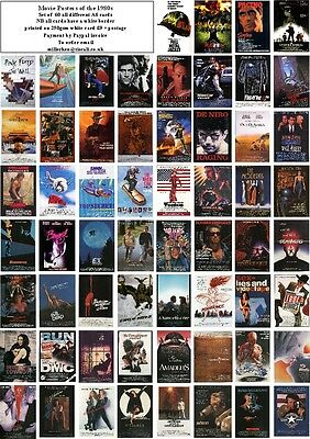 MOVIE POSTERS of 1980s-60 ALL DIFFERENT A6 ARTCARDS