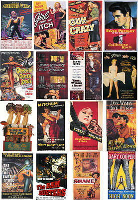 MOVIE POSTERS of 1950s-60 ALL DIFFERENT A6 ARTCARDS