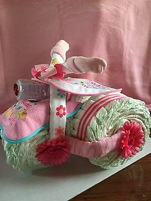 "Baby Girl Tricycle Diaper Cake ""adorable"""