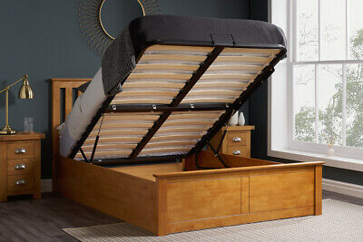 4Ft6 Double Wooden Ottoman Storage Bed In Natural Oak Colour Finish
