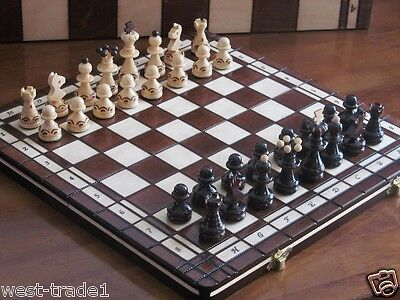 Brand New♞  Hand Crafted Pearl  Wooden Chess and Draughts Set 36cm x 36cm ♚