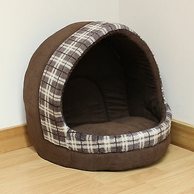 Cat/Kitten/Dog/Puppy Large Soft Brown Check Igloo Bed Warm Cave/House/Mat/Snug