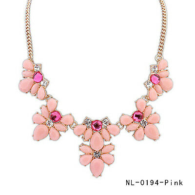 PY Crystal Flower Choker Collar Chunky Bib Pendant Chain Statement Necklace Pink