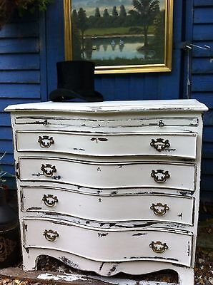 Antique serpentine chest of drawers shabby chic scandi chic Gustavian style