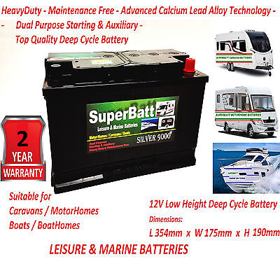 12V 110AH Leisure / Marine Battery Low Height / Low Profile - SuperBatt LM110