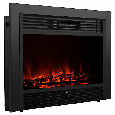 """28.5"""" Embedded Electric Fireplace Insert Heater Remote Realistic wood log Glow"""